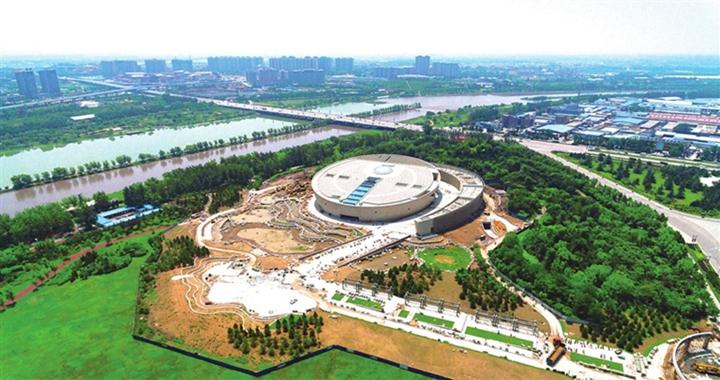 航拍镜头下的千亿国际手机版市博物馆建设工地