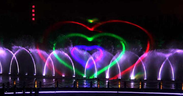 临汾汾河公园水景喷泉 一道美轮美奂的视听盛宴