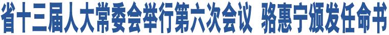 省十三届人大常委会举行第六次会议 骆惠宁颁发任命书