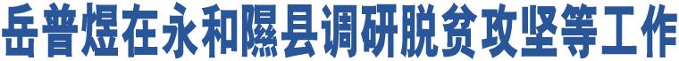 岳普煜在永和隰县调研脱贫攻坚等工作
