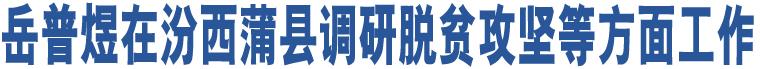岳普煜在汾西蒲县调研脱贫攻坚等方面工作
