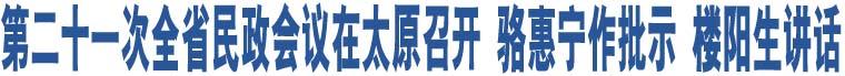 第二十一次全省民政会议在太原召开 骆惠宁作批示 楼阳生讲话