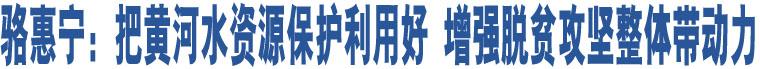骆惠宁:把黄河水资源保护利用好 增强脱贫攻坚整体带动力