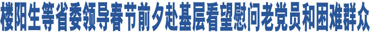 楼阳生等省委领导春节前夕赴基层看望慰问老党员和困难群众