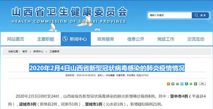 2020年2月4日山西省新型冠状病毒感染的肺炎疫情情况
