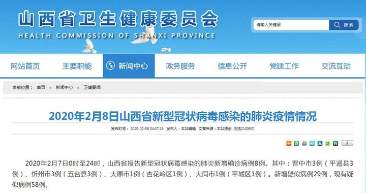 2020年2月8日山西省新型冠状病毒感染的肺炎疫情情况