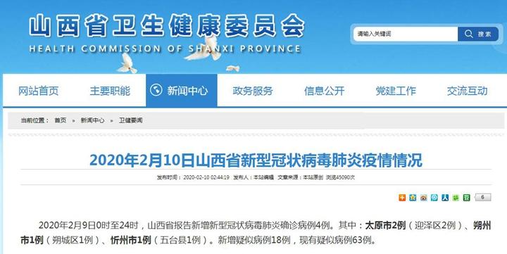 2020年2月10日山西省新型冠状病毒肺炎疫情情况