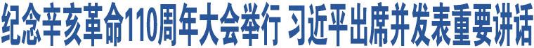 纪念辛亥革命110周年大会举行 习近平出席并发表重要讲话